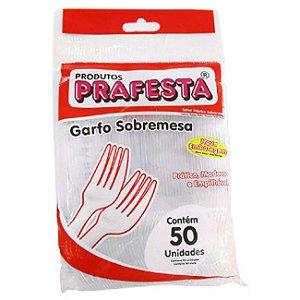 Garfo para Sobremesa Cristal  Prafesta Biodegradável Pacote com 50uni