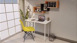 Escrivaninha Para Estudo Branco/Branco MDF 100x50 cm