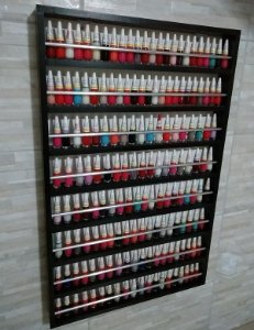 Expositor De Esmalte -p/200 Esmaltes C/ Barra De Alumínio 60x94x6 mdf preto