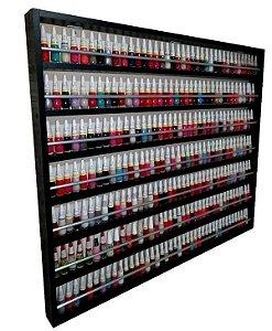 Expositor De Esmaltes C/barra De Alumínio P/250 Á 500 esmaltes 100X83X6 MDFpreto