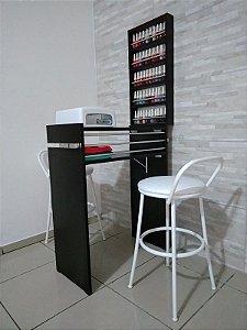 KIT Manicure 60cm  Mesa com expositor todo preto c/ Barras aluminio