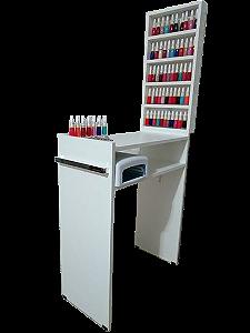KIT Manicure Mesa 60cm c/ prateleira e alças+expositor de esmaltes
