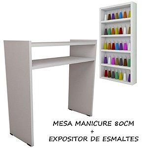 KIT Manicure Mesa 80cm+expositor de esmaltes 30X60X6 BRANCO