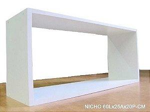 Nicho Retangular 60x25x20 Cm-100%mdf 15mm Branco- VIRTUDE MOVEIS