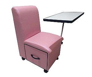 Cadeira Cirandinha Para manicure COM GAVETA Factor Rosa