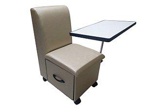 Cadeira Cirandinha Manicure Bege Factor Com Gaveta