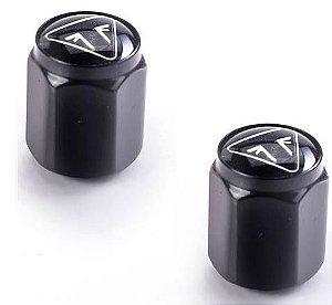 Tampas de válvula com logotipo de emblema preto - *Consultar modelos na descrição*