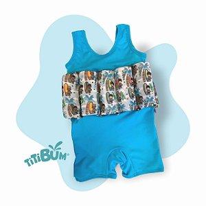 Body flutuante - Azul piscina surfista - sem manga - menino