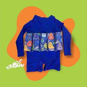 - Body flutuante - Azul royal monstrinho - com manga UV - Menino-