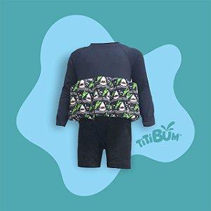 Body flutuante - preto tubarão - com manga UV - menino