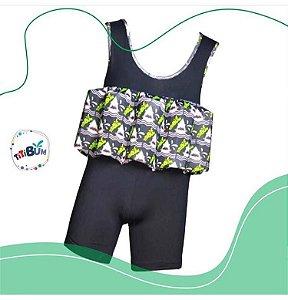 Body flutuante - preto tubarão - camiseta - menino