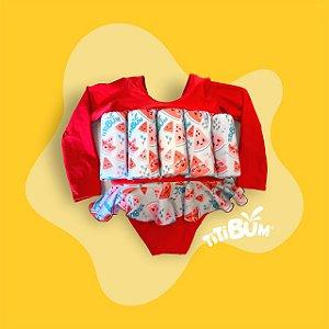 Maio flutuante - vermelho melancia - com manga UV - menina