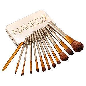 Kit 12 Pincéis Maquiagem C/ Estojo Profissional Naked 3