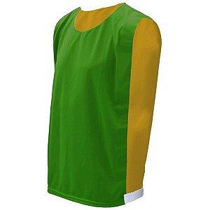 Colete de Futebol Dupla Face Verde Bandeira com Amarelo