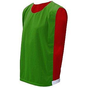 Colete de Futebol Dupla Face Verde Bandeira com Vermelho