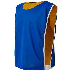 Colete de Futebol Dupla Face Dry Azul Royal com Amarelo