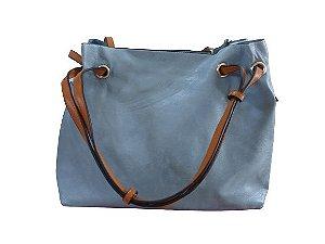 Bolsa azul com alça caramelo + bolsa pequena + porta moedas