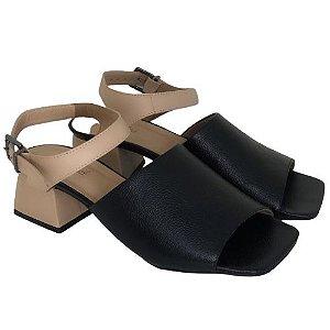 Sandália Bico Quadrado Preta com Bege