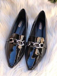 Sapato Bico Fino Verniz Preto