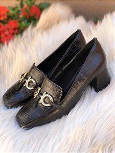 Sapato Croco Preto Salto Bloco