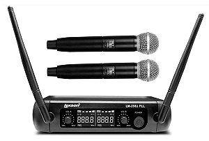 Microfone Sem Fio LM-258U PLL Lexsen UHF Com 2 Bastões