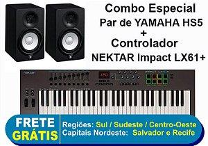 Combo - Monitores de Referencia Caixa HS5 Preto (Par) 110V - Yamaha + Teclado Controlador Impact LX61+ 61 Teclas - Nektar