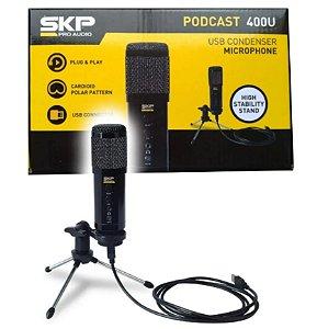 Microfone Condensador SKP PODCAST-400U USB c/ Tripé