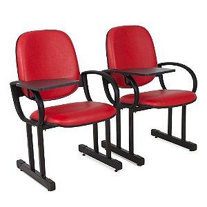 02 Cadeiras para Audítório Escolas e Faculdades Vermelho