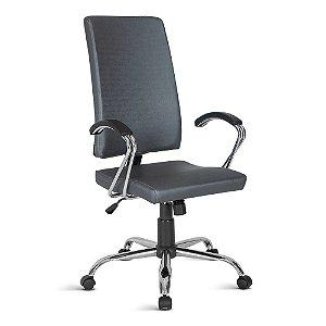 Cadeira Presidente com braços cromados Linha Torino Azul