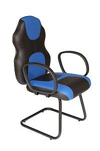 Cadeira Gamer Base Fixa com braço Linha Gamer Racing Azul