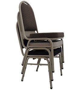 Kit com 3 Cadeiras Empilháveis para Auditórios Linha Hotel Preto
