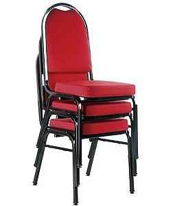 Kit com 3 Cadeiras Empilháveis para Auditórios Linha Hotel Vermelho