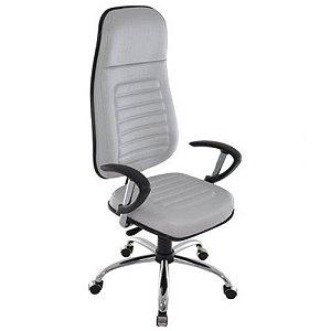 Cadeira Presidente com apoio de Cabeça Linha Blenda Cinza