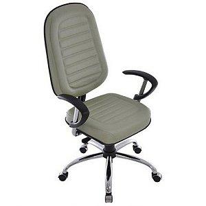 Cadeira Presidente com Base Cromada Linha Blenda Cinza