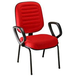 Cadeira Diretor com Braços Linha Blenda Base Fixa Palito Vermelho