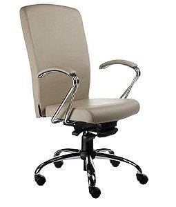Cadeira Presidente Luxuosa com Braços Fixos Linha Alpha Bege