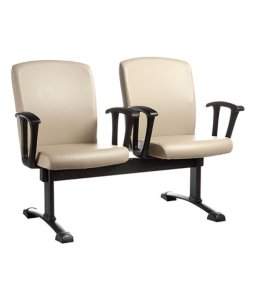 Cadeira Diretor em longarina com 2 lugares Linha Alpha Bege