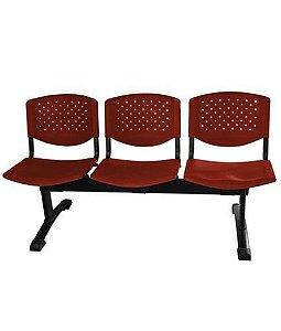 Cadeira em longarina 3 lugares Linha Polipropileno Atenas Vermelho