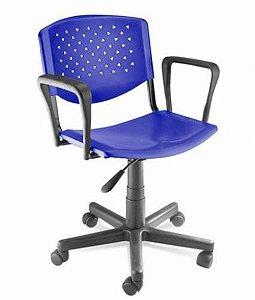 Cadeira Giratória com Braços Linha Polipropileno Atenas Azul