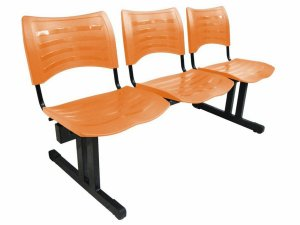 Cadeira Iso em longarina 3 lugares Linha Polipropileno Iso Cor Laranja