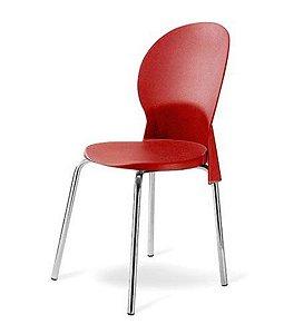 Cadeira Base Cromada Linha Polipropileno Milano Vermelho