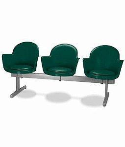 Cadeira em longarina 3 lugares Linha Polipropileno Moon Verde