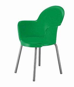 Cadeira com Braço Base Cromada Linha Polipropileno Moon Verde