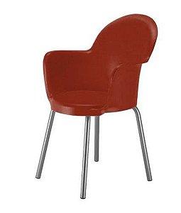 Cadeira com Braço Base Cromada Linha Polipropileno Moon Vermelho