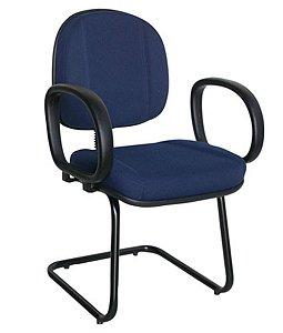 Cadeira Gerente com Base Fixa em S com Braço Linha Classic Azul