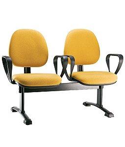 Cadeira Gerente em longarina 2 lugares Linha Confort Plus Amarelo