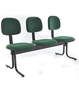 Cadeira Secretária em longarina com 3 lugares Linha Economy Verde