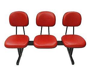 Cadeira Secretária em longarina com 3 lugares Linha Economy Vermelho