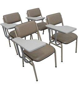 Kit com 4 Cadeiras  para Auditórios Linha Hotel Smart Cinza