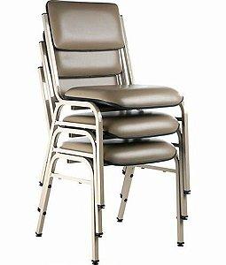 Kit com 3 Cadeiras Empilháveis Auditórios Linha Hotel Smart Cinza